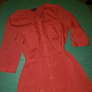 Red Shirt Dress Moda International size XL 14